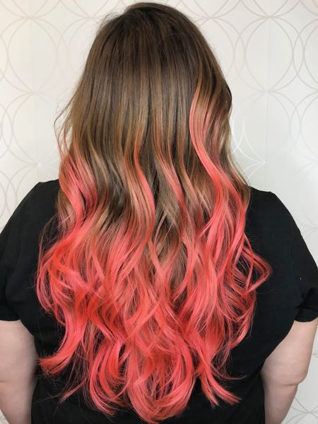 Coral Fashion colour balayage