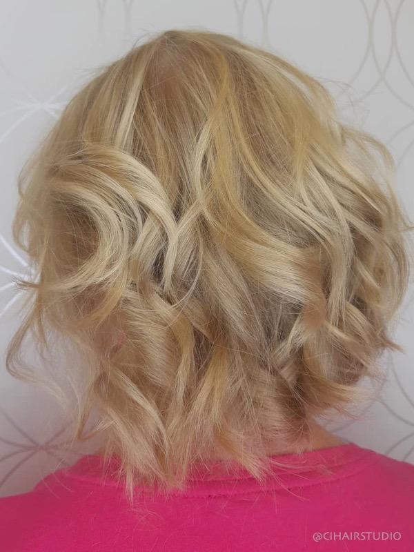 Layered blonde wavy bob