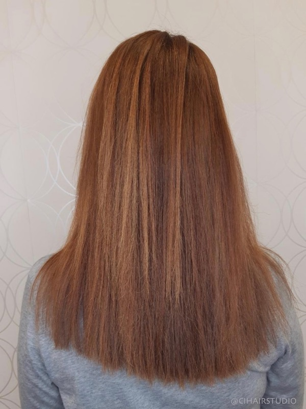 Long Coppery Red Hair with lowlights