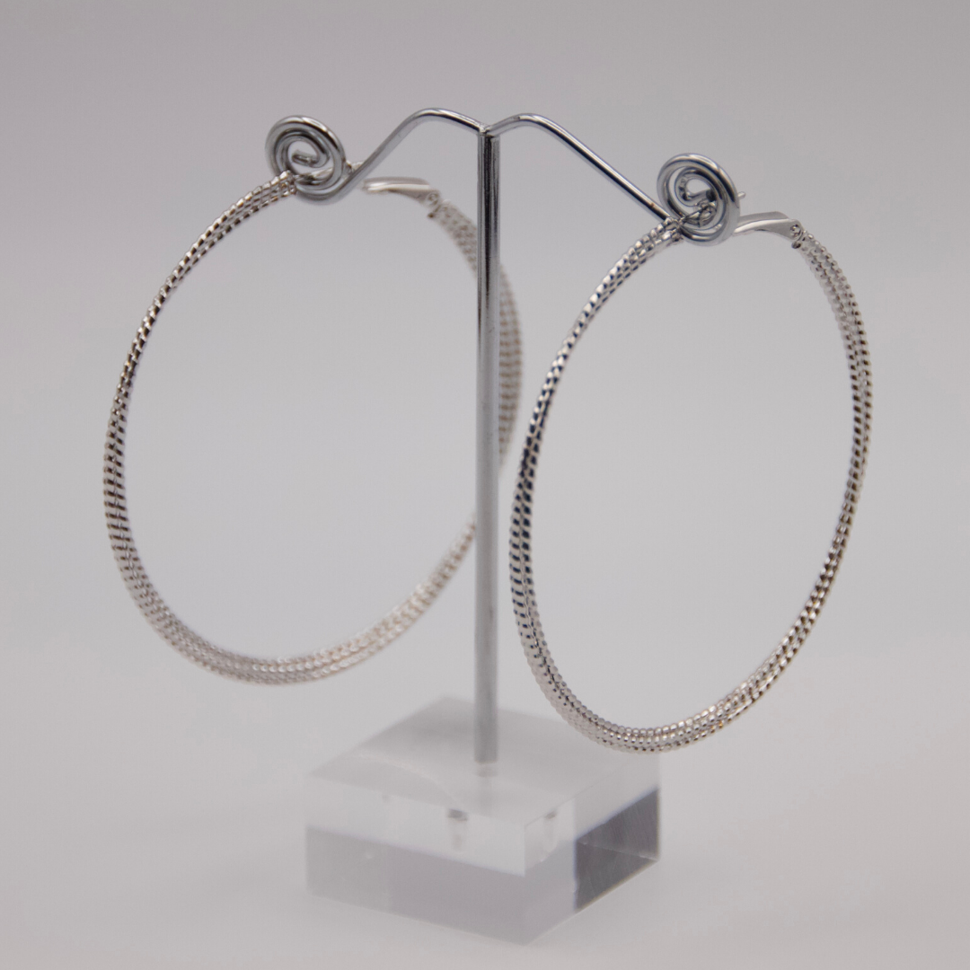 Silver Coil Hoop Earrings