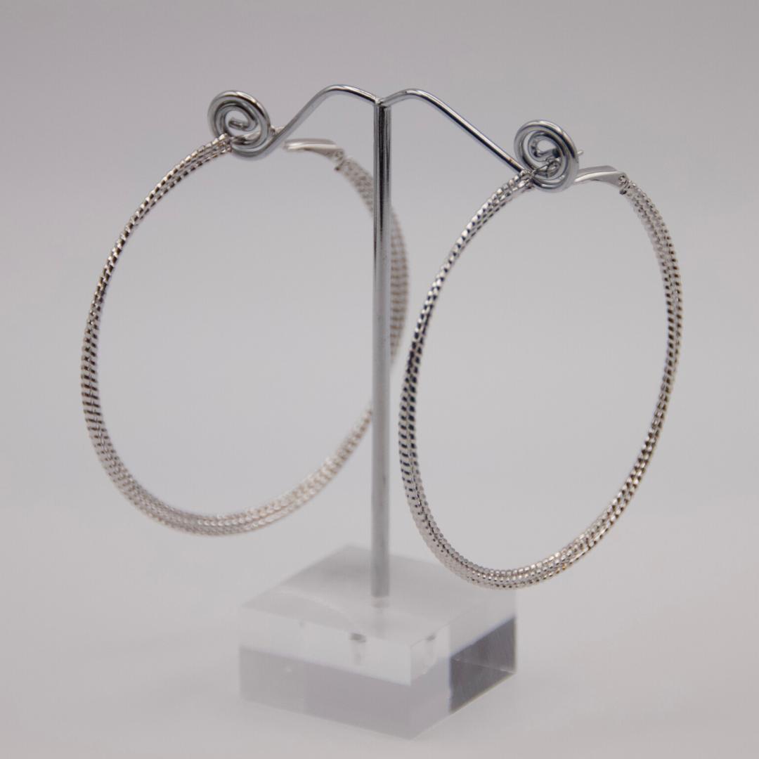 Silver Coil Hoop Earrings