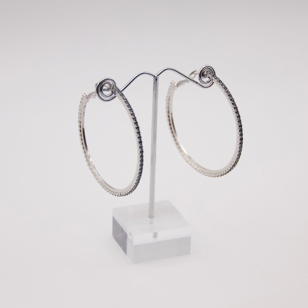 Deep Blue Hoop Earrings